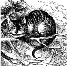 Tenniel illustration of Cheshire Cat from Alice Through the Looking Glass