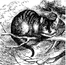 Tenniel illustration of Cheshire Cat from Alice Through the Looking Glass - flipped to face right.