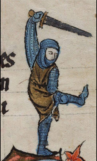 Image of a knight in chain mail waving a sword & kicking